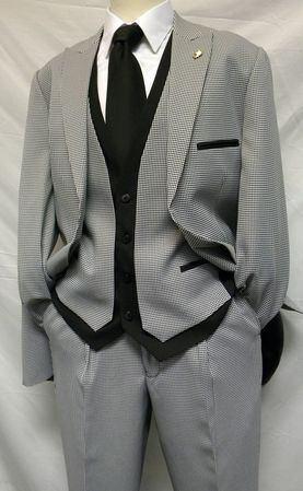 Falcone 4 Piece Houndstooth Sarge Vested Suit 7440-000 Final Sale - click to enlarge
