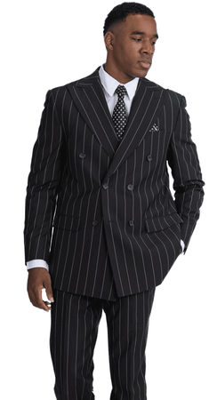 Falcone Black Double Breasted Suit Gangster Stripe Lamb 5764-610 IS - click to enlarge