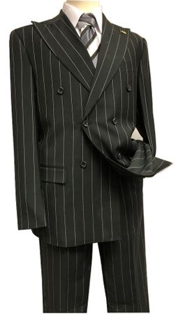 Falcone Black Double Breasted Suit Gangster Stripe 5764-610 Size 44R,48R, 48L