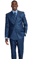 Falcone Blue Double Breasted Suit Square Plaid Duece 8154-732 IS