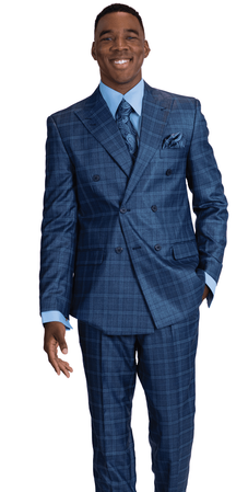 Falcone Blue Double Breasted Suit Square Plaid Duece 8154-732 Size 48L, 52L