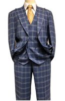 Falcone Blue Square Plaid 3 Piece Suit 1920s Hank 9012-752