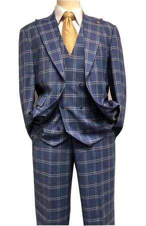 Falcone French Blue Plaid 3 Piece Suit 1920s Hank 9012-752 IS