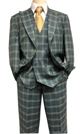 Falcone Sage Green 1920s Square Plaid 3 Piece Suit Hank 9012-743 Size 50L, 52L