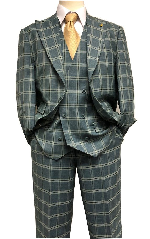 055315c32 Falcone Sage Green 1920s Square Plaid 3 Piece Suit Hank 9012-743