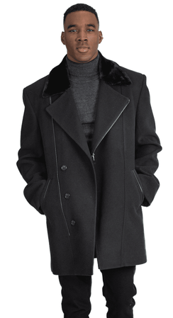 Falcone Men's Black Fur Collar Wool Topcoat 3/4 Length Hawk 4150-000 - click to enlarge