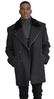 Falcone Men's Black Fur Collar Wool Topcoat 3/4 Length Hawk 4150-000