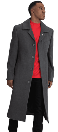 Falcone Men's Gray Full Length Wool Belted Topcoat Aero 4150 - click to enlarge