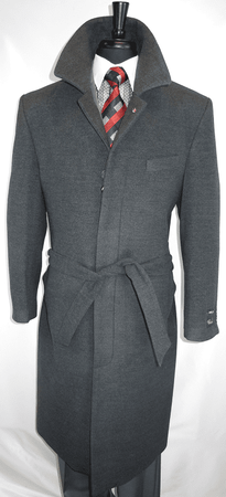Falcone Men's Gray Full Length Wool Belted Topcoat Aero 4150 IS - click to enlarge