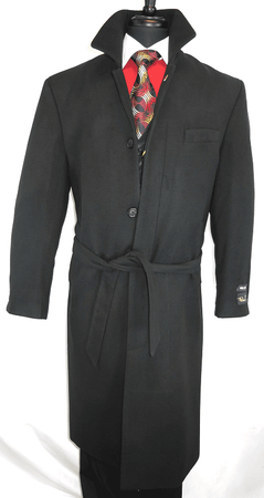 Falcone Men's Black Full Length Wool Belted Topcoat Aero 4150-000 IS - click to enlarge