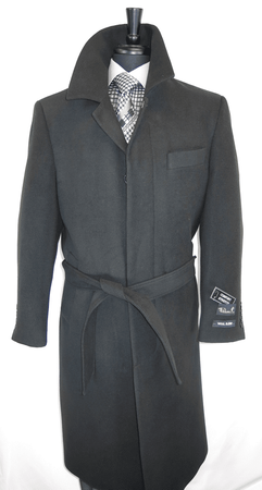 Falcone Men's Black Full Length Wool Belted Topcoat Aero 4150-000 - click to enlarge