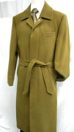 Falcone Mens Aero Light Brown Belted Wool Blend Topcoat 4150-068 IS - click to enlarge