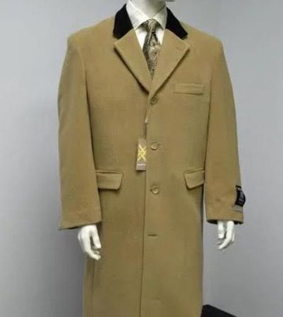 Chesterfield Coat for Men Camel Brown Velvet Collar Alberto - click to enlarge