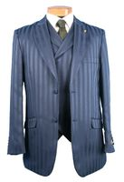 Falcone Mens Big and Tall Shiny Stripe Suit Mat Vested 380