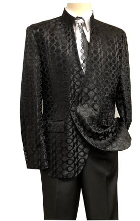 Blu Martini Mens Black Mandarin Collar Suit Tonal Dandiduo 8046-800 OS - click to enlarge