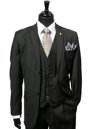 Falcone Mens Black Fancy Vest Fashion Suit Burt 3420-000