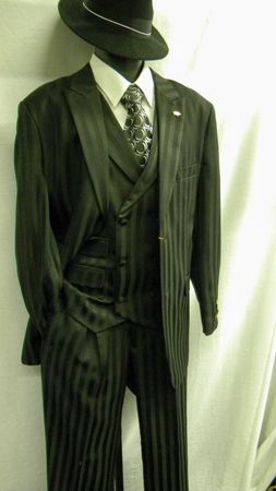 Falcone Mens Black Shadow Stripe Fashion Suit Mat Vested 380-000 OS