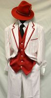 Zoot Suits Mens White with Red Stripe 3 Piece Milano Fortino 5908V