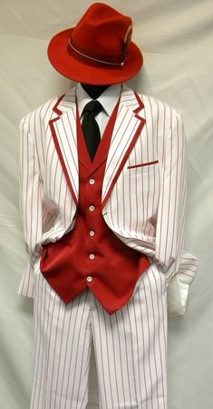 Zoot Suits Mens White with Red Stripe 3 Piece Milano Fortino 5908V - click to enlarge