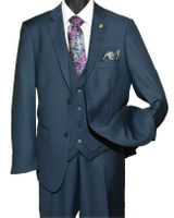 Falcone Mens Navy Blue 3 Piece Burt Vest Suit 3420-002
