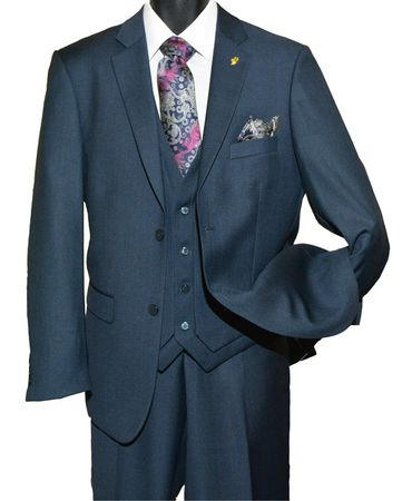 Falcone Mens Navy Blue 3 Piece Burt Vest Suit 3420-002 OS