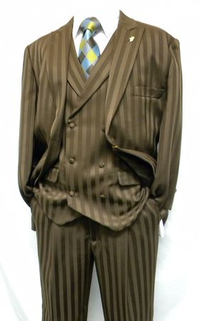 Falcone Brown Satin Stripe Mat Vest Fashion Suits 380-208 OS
