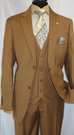 Falcone Mens Mustard Burt Vested Fashion Suits 3420-068 Size 38 Reg Final Sale - click to enlarge