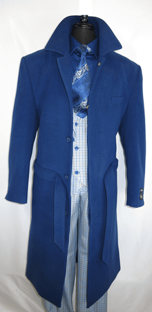 Falcone Men's Blue Full Length Belted Wool Topcoat Aero 4150-032 IS - click to enlarge