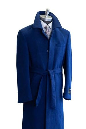 Falcone Men's Blue Full Length Belted Wool Topcoat Aero 4150-032 Size 40 Chest