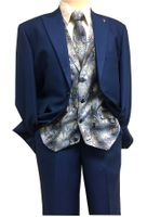 Falcone Mens Bright Blue Paisley Vest Tie Fashion Suit City Vested 5284-032