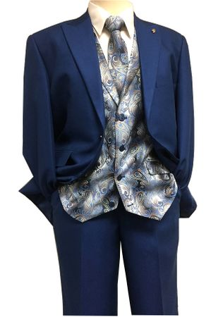 Falcone Mens Bright Blue Paisley Vest Tie Fashion Suit City Vested 5284-032 IS