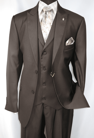 Falcone Mens Brown Pett Vested Vintage Style Suit 5306-208 - click to enlarge