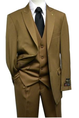 Falcone 3 Piece Fashion Suit Vett Vested Medium Brown 3869-065 Size 40R