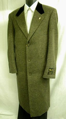Falcone Mens Brown Tweed Chesterfield Wool Overcoat 4158-108 - click to enlarge