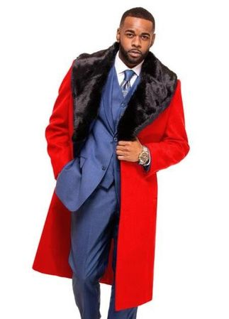 Men's Red Fur Collar Wool Overcoat Alberto IS Size 46 Chest - click to enlarge
