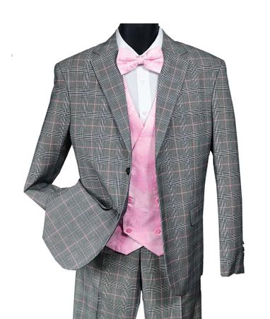 Falcone Mens Black Pink Plaid Suit Paisley Vest Bay 9214-710