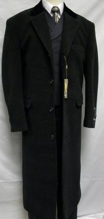 Xxiotti Mens Charcoal Chesterfield Cashmere Blend Overcoat 77015 Size 48R - click to enlarge