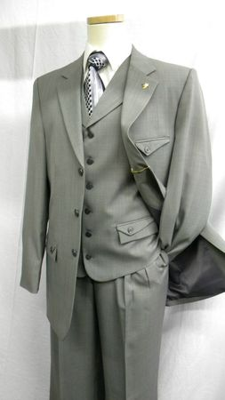 Falcone Mens Gray Iowa Vested Fashion Suit 366-011  - click to enlarge