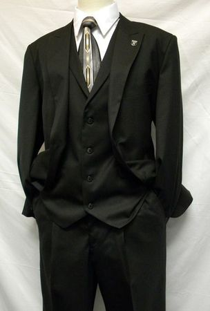 Stacy Adams Dark Navy 3 Piece Suit Mart Vested 4015 Size 44L Final Sale - click to enlarge
