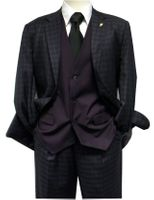 Falcone Mens Purple Gingham Ruler Vested Suit 5412-029 Size 40R Final Sale