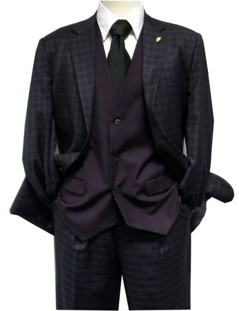 Falcone Mens Purple Gingham Ruler Vested Suit 5412-029 Size 40R Final Sale - click to enlarge