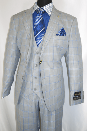 Falcone Light Gray Windowpane Suit 3 Piece Bud 9228-721