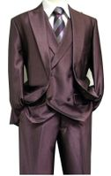 Martini Mens Shiny Purple Sharkskin 3 Pc. Suit Ken Vest 5662-039