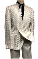 Blu Martini Mens Ivory Mandarin Collar Suit Tonal Dandiduo 8046-806 IS