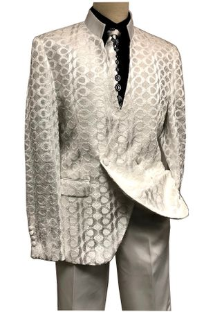 Blu Martini Mens Ivory Mandarin Collar Suit Tonal Dandiduo 8046-806 IS - click to enlarge
