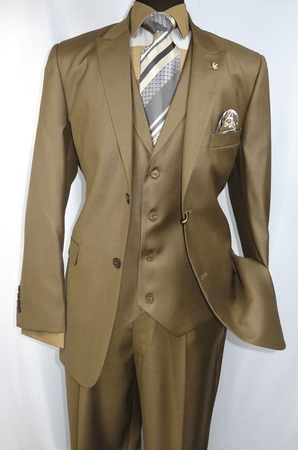 Falcone Mens Light Brown Pett Vested Vintage Style Suit 5306-068