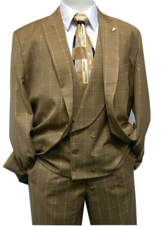 Falcone Mens Brown Plaid Maser Vest Fashion Suit 5414-068 IS - click to enlarge