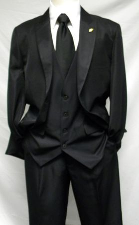 Falcone 3 Piece Fashion Suit Vett Vested Shiny Black 3869-000 OS