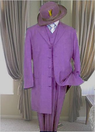 Mens Lavender Zoot Suit Long Jacket 3 Piece 7903V
