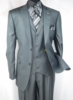Falcone Fashion Suit Mens Charcoal Gray Silky 3 Piece Pett Vest 5306-021